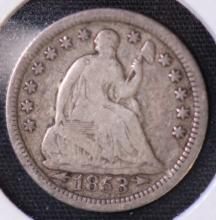 1853 (w/arrows) Seated Liberty Half Dime - VG