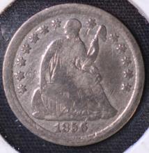 1856 Seated Liberty Half Dime - VG