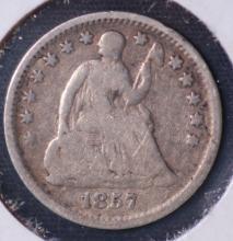 1857 Seated Liberty Half Dime - G