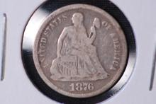 1876 Seated Liberty Dime - VG