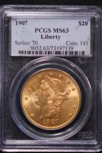 1907 $20 Gold Liberty Double Eagle-PCGS MS63