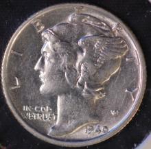 1940-S Mercury Silver Dime - AU
