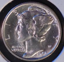1942-D Mercury Silver Dime - CH BU