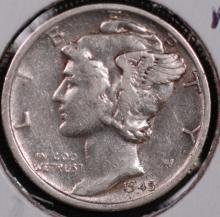 1945-S (micro) Mercury Silver Dime - XF