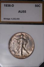 1936-D Walking Liberty Half Dollar - PCI AU55