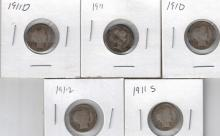 1910-1912 (n/c) Barber Silver Dime Lot