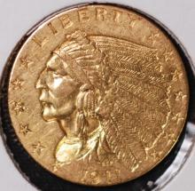 1911 $2-1/2 Gold Indian Quarter Eagle - AU