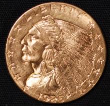 1925-D $2-1/2 Gold Indian Quarter Eagle-AU