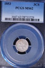 1853 Silver Three Cent Piece - PCGS MS62