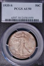 1935-S Walking Liberty Half Dollar-PCGS AU50