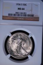 1936-S Walking Liberty Half Dollar - NGC MS64