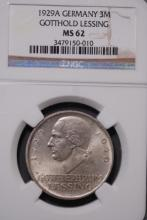 1929-A Germany 3M Gotthold Lessing-NGC MS62