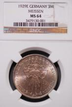 1929-E Germany 3M Meissen - NGC MS64
