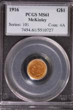 1916 $1 Gold McKinley Commem - PCGS MS61