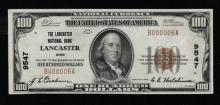 1929 (ty1) $100 Nat'l Currency Note-Lancaster, OH