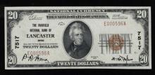 1929 (ty1) $20 Nat'l Currency Note-Lancaster, OH