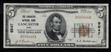 1929 (ty1) $5 Nat'l Currency Note-Lancaster, OH