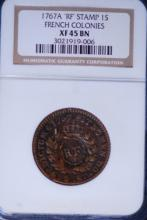1767-A French Colonies 1S (RF)- NGC XF45BN