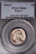 1942-P (ty2) Silver War Nickel - PCGS MS66
