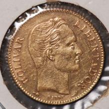 1912 Gold Venezuela 20 Bolivars - XF