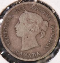 1885 Canada Silver 5 Cent Piece - VG