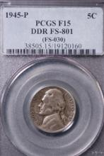 1945-P Silver War Nickel - PCGS F15 (DDR)