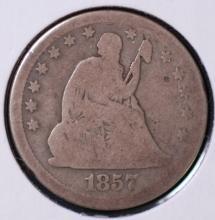 1857 Seated Liberty Quarter - VG