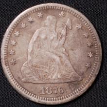 1876-CC Seated Liberty Quarter - F