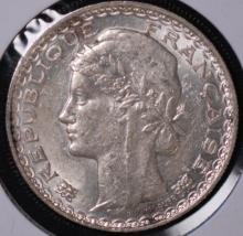 1931 French Indo-China Silver 1 Piastre-AU