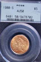 1900-S $5 Gold Liberty Half Eagle - PCGS AU50