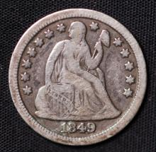1849 Seated Liberty Dime - F