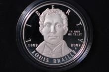 2009-P Louis Braille Silver Dollar- Gem Proof