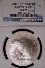 2011 US Army Silver Dollar - NGC MS70