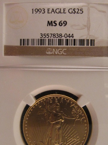 1993 $25 Gold American Eagle - NGC MS69