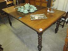 Oak Extending Barley Twist Dining Table