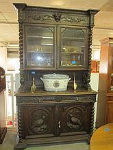 19thC Dutch Carved Oak Barley Twist Buffett
