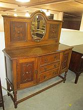 1930's Oak Mirror Back Sideboard