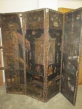 Distressed Oriental Folding Screen