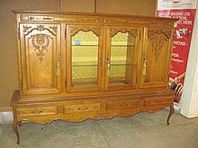 Oak Glassfront Cabinet on Drawers