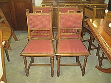 4 19thC French Oak Dining Chairs
