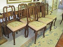 8 19thC French Oak Dining Chairs