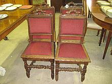 4 19thC Upholstered Oak Chairs