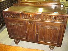 Oak Linen Fold Sideboard