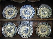 7 Blue & White Plates
