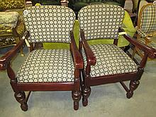 Pair Carved Armchairs