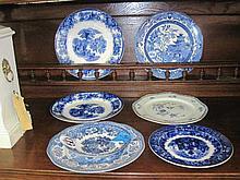 7 Blue & White Ware Plates
