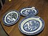 3 Blue & White Platters