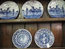 Collection of 5 Delft Wall Plates