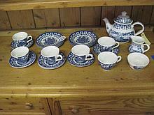 21 Piece James Broadhusrt Blue/White Tea Set