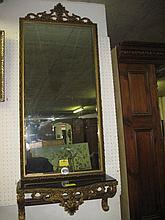 Gilt Framed Wall Mirror & Consol